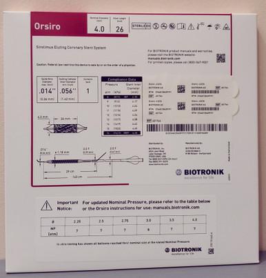 BIOTRONIK 401764 Orsiro Sirolimus Eluting Coronary Stent System 4.0 mm x 26 mm, Box of 01