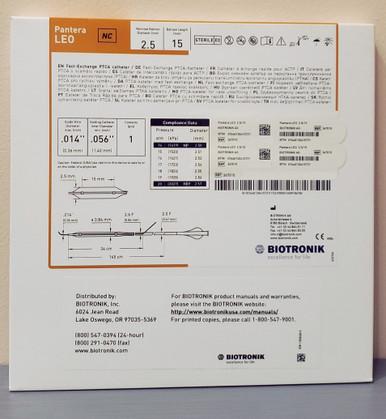 BIOTRONIK 367015 Pantera LEO Fast-Exchange PTCA Catheter 2.5 mm x 15 mm, Box of 01
