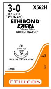 "ETHICON X562H Suture, ETHIBOND EXCEL, Taper Point, SH / SH, 30"", Size 3-0. Box of 36"