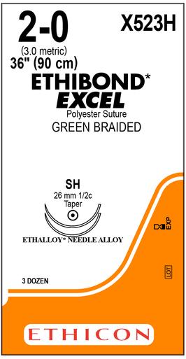 "ETHICON X523H Suture, ETHIBOND EXCEL, Taper Point, SH / SH, 36"", Size 2-0. Box of 36"