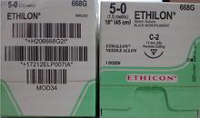 "Ethicon 668G-EXPIRED-01/2019 ETHILON Suture, Non-Absorbable, Reverse Cutting, C-3 13mm 3/8 Circle, Black Monofilament, 18"" ˜ 45cm, Size: 5-0, 12/box"
