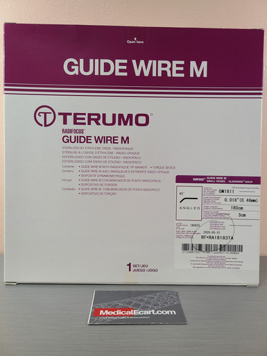 """Terumo GM1811 Expired 2020-05 GLIDEWIRE® Gold Hydrophilic Coated Guidewire, 0.018""""Diameter, Total Length 180 cm, Flexible Tip Length 3 cm, Radiopaque Length 1 mm, Tip Shape 45° Angle, Box of 01"""