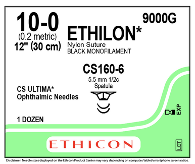 "Ethicon 9000G ETHILON Suture, ULTIMA - Spatula, Non-Absorbable, CS160-6 5.5mm / CS160-6 ½ Circle, Black Monofilament 12"" ˜ 30cm, Size: 10-0. Box of 12"