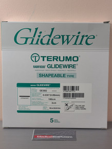 "Terumo GE3502 GLIDEWIRE® Hydrophilic Coated Guidewire, 0.035"" x 180cm, with 3 cm Shapeable Tip (Straight). Box of 05"