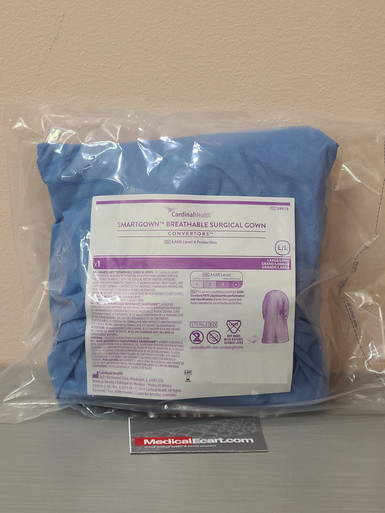Cardinal Health 39019 SmartGown™ Surgical Gown AAMI Level 4 Sterile Breathable, Blue, Large/Long. Case of 14