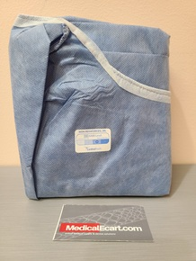 Cardinal Health K9575N Surgical Gown AAMI Level 3, Unreinforced, Non-Sterile, Blue, 2X-Large. Case of 16