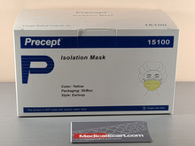 Precept 15100 Procedure Mask Pleated Earloops One Size Fits Most Yellow NonSterile Not Rated, Box of 50