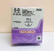 "Ethicon J843G Coated VICRYL Suture, Absorbable, Precision Cosmetic - Conventional Cutting PRIME, PC-3 16mm 3/8 Circle, Undyed Braided, 18"" ˜ 45cm, Size: 6-0"
