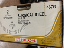 """Ethicon 467G Surgical Stainless Steel Suture, Reverse Cutting, Non-Absorbable, LR 75mm / LR 3/8 Circle, Monofilament B & S 24 30"""" = 75cm, Size: 2, Box of 12"""
