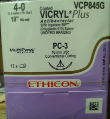 "Ethicon VCP845G Coated VICRYL Plus Suture, Absorbable, Precision Cosmetic - Conventional Cutting PRIME, PC-3 16mm 3/8 Circle, Undyed Braided, 18"" ˜ 45cm, Size: 4-0"