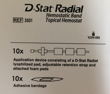 DStatDry Radial 3501 D-Stat Rad-Band Topical Hemostat, Box of 10