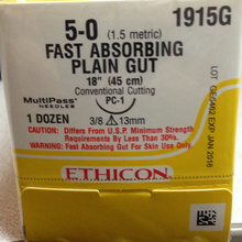 """Ethicon 1915G Surgical Gut Suture - Plain, Absorbable, Precision Cosmetic - Conventional Cutting PRIME, PC-1 13mm 3/8 Circle, Plain Fast Absorbing, 18"""" ˜ 45cm, Size: 5-0"""