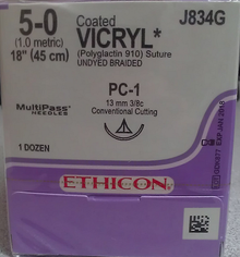 "Ethicon J834G Coated VICRYL Suture, Absorbable, Precision Cosmetic - Conventional Cutting PRIME, PC-1 13mm 3/8 Circle, Undyed Braided, 18"" ˜ 45cm, Size: 5-0"