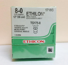 "Ethicon 1716G ETHILON Suture, Non-Absorbable, MICROPOINT - Spatula, TG175-8 7.0mm TG175-8 1/2 Circle, Black Monofilament, 12"" ˜ 30cm, Size: 8-0"