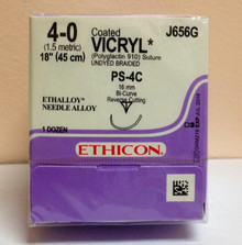 "Ethicon J656G Coated VICRYL Suture, Absorbable, Precision Point - Reverse Cutting, PS-4C 16mm 1/2 Circle Compound Curve, Undyed Braided, 18"" ˜ 45cm, Size: 4-0"