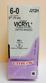 "Ethicon J212H Coated VICRYL Suture, Absorbable, Taper Point, RB-1 17mm 1/2 Circle, Undyed Braided, 27"" ˜ 70cm, Size: 6-0"