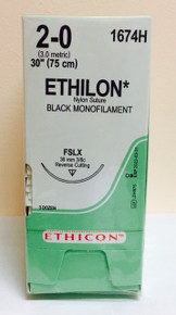 "Ethicon 1674H ETHILON Suture, Reverse Cutting, Non-Absorbable, FSLX 40mm 3/8 Circle, Black Monofilament 30"" ˜ 75cm, Size: 2-0, Qty: 36/box"