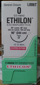 "Ethicon L886T ETHILON Suture, Non-Absorbable, Taper Point, CT 40mm 1/2 Circle, Black Monofilament, 48"" ˜ 122cm, Size: 0"