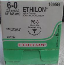 "Ethicon 1665G ETHILON Suture, Non-Absorbable, Precision Point - Reverse Cutting, PS-3 16mm 3/8 Circle, Black Monofilament, 18"" ˜ 45cm, Size: 6-0"
