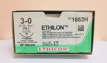 "Ethicon 1663H ETHILON Suture, Non-Absorbable, Precision Point - Reverse Cutting, PS-1 24mm 3/8 Circle, Black Monofilament, 18"" ˜ 45cm, Size: 3-0"