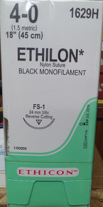 "Ethicon 1629H ETHILON Suture, Non-Absorbable, Reverse Cutting, FS-1 24mm 3/8 Circle, Black Monofilament, 18"" ˜ 45cm, Size: 4-0"
