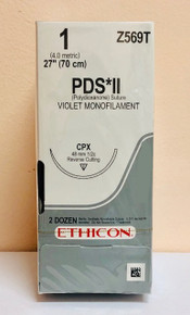 """Ethicon  Z569T PDS II Suture, Reverse Cutting, CPX, 27"""", Size 1, 2dz"""