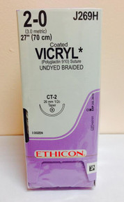 Ethicon, J269H, VICRYL, Suture, Absorbable, Undyed, Braided,Size, 2-0