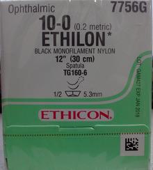 "Ethicon 7756G ETHILON Suture, Non-Absorbable, MICROPOINT - Spatula, TG160-6 5.5mm TG160-6 1/2 Circle, Black Monofilament, 12"" ˜ 30cm, Size: 10-0. Box/12"