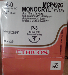 "Ethicon MCP492G MONOCRYL Plus Suture, Absorbable, Precision Point - Reverse Cutting, P-3 13mm 3/8 Circle, Undyed Monofilament, 18"" ˜ 45cm, Size: 6-0"