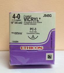 "Ethicon J845G Coated VICRYL Suture, Precision Cosmetic - Conventional Cutting PRIME, Absorbable, PC-3 16mm 3/8 Circle, Undyed Braided 18"" ˜ 45cm, Size: 4-0"