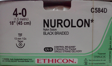 """Ethicon C584D NUROLON Suture, Taper Point, Non-Absorbable, TF 13mm ½ Circle, Black Braided 8-18"""" ˜ 45cm, Size: 4-0, Qty: 12/box"""