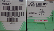"Ethicon 668G ETHILON Suture, Non-Absorbable, Reverse Cutting, C-3 13mm 3/8 Circle, Black Monofilament, 18"" ˜ 45cm, Size: 5-0, 12/box"