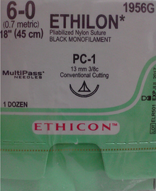 "Ethicon 1956G ETHILON Suture, Non-Absorbable, Precision Cosmetic - Conventional Cutting PRIME, PC-1 13mm 3/8 Circle, Black Monofilament, 18"" ˜ 45cm, Size: 6-0, 12/box"