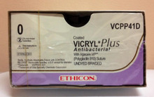 "Ethicon VCPP41D Coated VICRYL Plus Suture, Taper Point, Absorbable, CT-1 36mm ½ Circle, Undyed Braided 8-27"" ˜ 70cm, Size: 0"