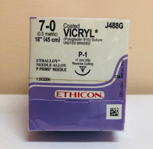 "Ethicon J488G Coated VICRYL Suture, Absorbable, Precision Point - Reverse Cutting, P-1 11mm 3/8 Circle, Undyed Braided, 18"" ˜ 45cm, Size: 7-0, 12/box"