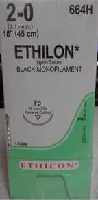 "Ethicon 664H ETHILON Suture, Non-Absorbable, Reverse Cutting, FS 26mm 3/8 Circle, Black Monofilament, 18"" ˜ 45cm, Size: 2-0"