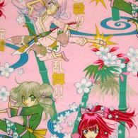 Pink Karate Girls Fabric