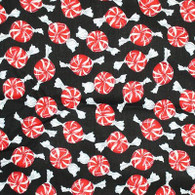 Peppermints on Black Fabric