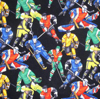 Hockey on Black Fabric