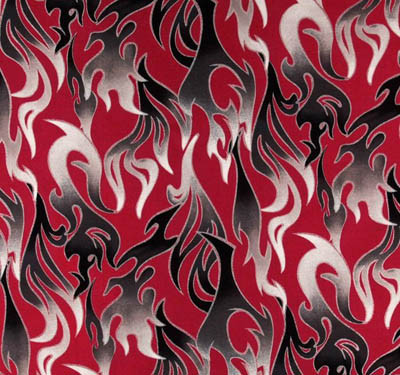 Black Flames on Red Fabric