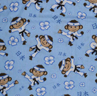 Karate Monkey Blue Fabric