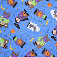 Halloween on Blue Fabric