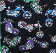 Motorcycles on Black Flannel Fabric