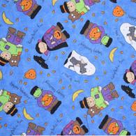 Halloween on Blue Fabric