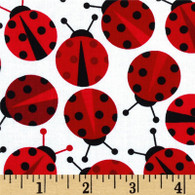 Red Lady Bugs Fabric