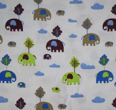 Elephants on White Flannel Fabric