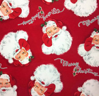 Santa Faces on Red