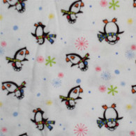Penguins in Scarfs on White Flannel Fabric