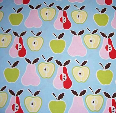 Apples & Pears on Blue Fabric
