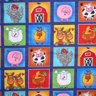 Farm Animal Squares Fabric